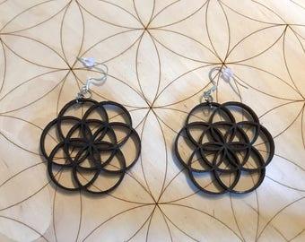 Flower of Life Wooden Earrings - Stained Dark - Birch Wood - Sacred Geometry