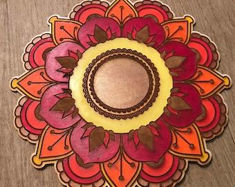 Hand Painted Wood Mandala - Laser Cut - Painted Mandala  - Fine Woodworking - Wall Hanging