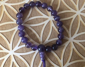 Amethyst Power Bracelet - Amethyst Beaded Bracelet - 8mm Beads - Third Eye - Sixth Chakra - Reiki - Energy Healing