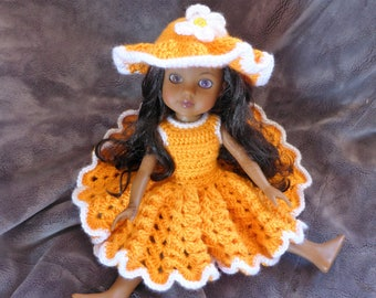 Sundress and Hat Crochet pattern for 14.5 inch dolls such as Wellie Wishers and Heart for Hearts dolls:  orange dress American Girl flower