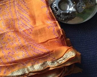 Handmade Bandhani Silk Saree, Zari Border Silk Saree