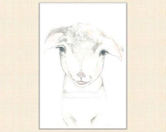 Lamb watercolour painting, lamb watercolour print, lamb art, farmyard animal print, lamb nursery print, farm nursery, lamb painting