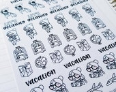 Cora - vacation/ travel  | mid size monochrome character / action | Planner stickers