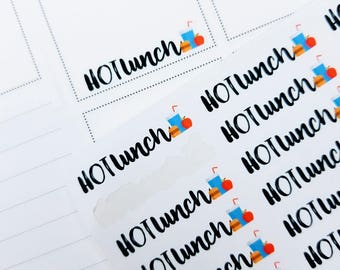 Hot Lunch | typography/  script icons | Planner stickers | Stickers for Planners