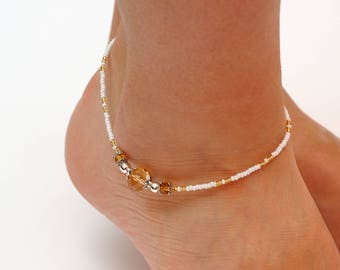 womens gift|for|her Anniversary gift Crystal Beads Anklet Beaded Anklet Beach anklet Body Jewelry Women anklet Summer ankle bracelet