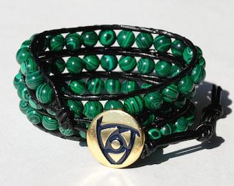 new mom gift|for|her Beaded Wrap Bracelet Malachite Bracelet Healing bracelet Green bracelet Gemstone jewelry grandma gift Cord Bracelet
