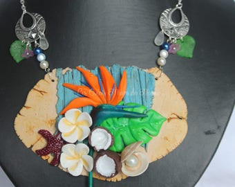 Stop on an island deserted bib necklace