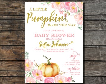 Little Pumpkin Baby shower Invitation  Fall Girl Baby Shower Invite Autumn Baby Shower Floral pink and gold baby shower invitation PUMPKIN