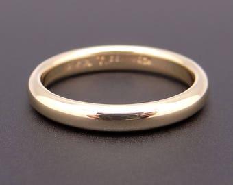 Vintage Estate Tiffany & Co 18k Yellow Gold 3mm Wedding Band Ring Size 4.5