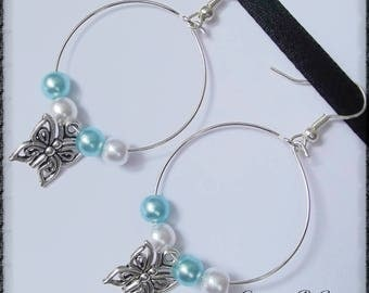 Butterfly with blue and white pearls hoop Pearl