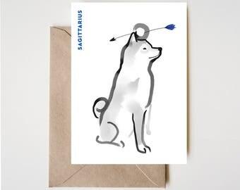 Sagittatius Shiba Card, Horoscope Dog Sumi-e Ink Painting Zen B&W Illustration Fall Birthday Cute Zodiac Drawing Zodiac Wabi Sabi