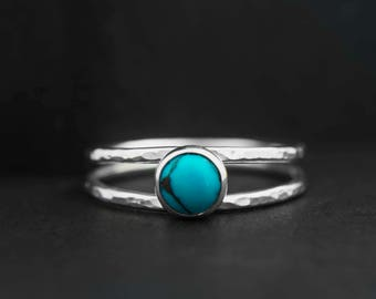 Turquoise silver ring, Turquoise ring, blue stone Dainty thin band hammered double ring - available with different gemstones