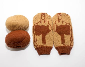 Flip 'Em The Bird Knit Mittens