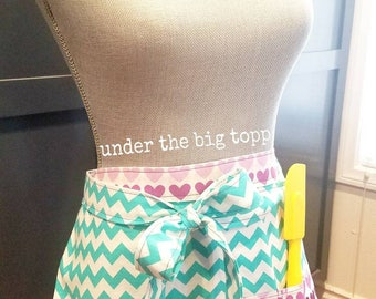 Rainbow Hearts & Teal Chevron Half Apron | Cooking and Baking | Crafting | Art | Colorful | Rainbow