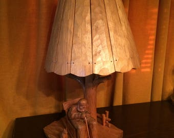 Vintage Country, Farmhouse, Colonial, Rustic, Hand Carved Wooden Lamp and Shade