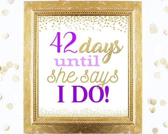 Bridal Shower Countdown Sign Customized - Purple and Gold - Instant Printable Digital Download - diy Bridal Shower Printables and Games