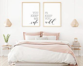 Interior Master Bedroom Art master bedroom art etsy you keep me safe ill wild printable sign set minimalist art