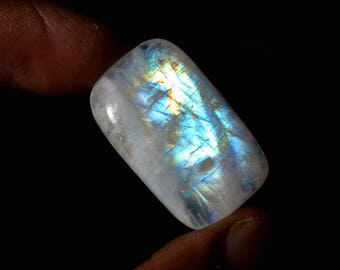 Rainbow Moonstone 26 Cts Natural Top Quality Blue Fire/Flash Gemstone Cabochon Rectangle Shape 27x16x6 MM R14430