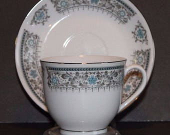 Catalina Island Souvenir Tea Cup and Saucer Blue Gray Silver on White