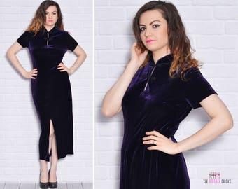 Dark Purple Dress Asian Dresses Velvet Mandarin Collar Velour Oriental Tight Bodycon Slit Vintage Short Sleeve Bombshell Evening