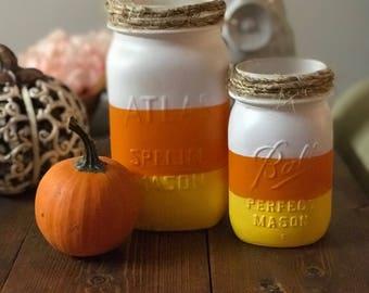 Candy Corn Mason Jar - Halloween Decor - Candy Corn Decor
