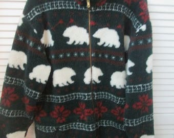 Vintage made in USA Cabela's fleece long jacket and mittens with polar bear patternEnvironmental statement polar plunge jacket and mittens