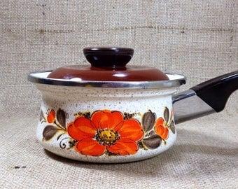 ON SALE Vintage Retro Enamel Sauce Pan Saucepan Pot with Lid, Orange, Brown, White, Yellow, Floral, Sanko Ware, Japan, Mod Retro Kitchen Dec