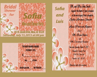 Flowers with bridal shower invitation