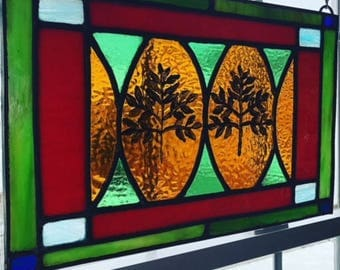 Colorful Stained Glass Panel With Ferns