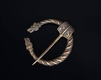 Wolf Heads Medieval Fibula, brass ... medieval brooch, cloak pin, viking clasp, celtic fibula brooch, coat fastener, cosplay, omega fibula