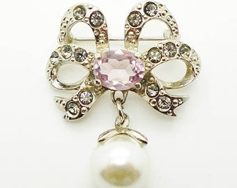 Vintage Crystal Pearl Bow Brooch