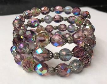 Lavender Crystal Wrap Bracelet, Purple Crystal Bracelet, Violet Crystal Bracelet, Beaded Silver Bracelet, Purple Crystal Bracelet, handmade