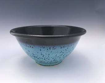 Turquoise and Black Large Salad Bowl or Pasta Bowl - Pottery Bowl - Handmade Salad Bowl - Stoneware Salad Bowl - Salad Bowl