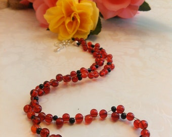 Necklace Red and Black Handmade Man or Woman Gift N#75