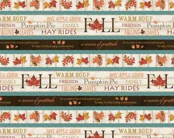 1 YD - Colors of Fall (Border Stripe) by Wilmington Prints