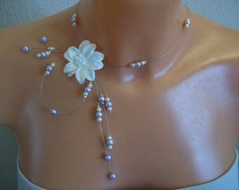 Bridal necklace wedding party ceremony Christmas ivory pearls / purple flower in ivory satin