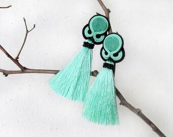 Tassel earrings green Mint earrings Soutache jewelry For girlfriend gift Xmas gift for sister Tassel gift wife Mint gift for her under 30