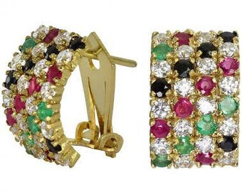 Diamond Huggie Earrings With Rubies, Emeralds, And Sapphires