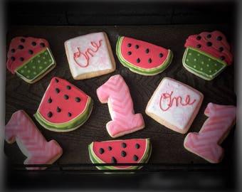 Watermelon themed first birthday sugar cookies