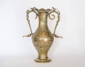 Indian Brass Vase Vintage Brass Vase, Large Brass Vase, Etched Brass Indian Vase, Boho Decor, Indian Decor, Hollywood Regency, Gift for Home