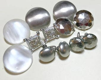 Six pairs of silver and gray vintage earrings, vintage earring lot, vintage jewelry lot, vintage craft lot, silver earring lot 1960s E78