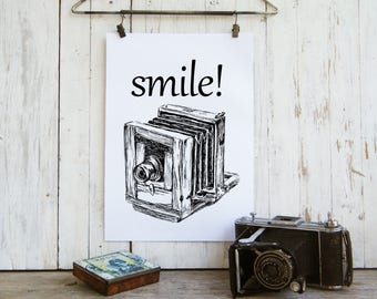 Quote Print, Smile Print, Antique Camera Printable, Rustic Wall Art, Clip Art, DIY Home Decor, Photographer Gift, Gift Under 10