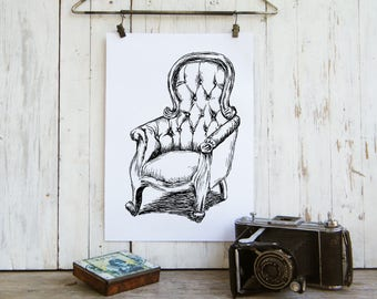 Bedroom Decor, Instant download, Arm chair printable, Black and white print, Hipster room decor, Art & collectibles, Antique chair
