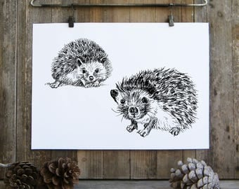 Hedgehog Wall Print, Woodland Animals, Black And White Printable, Hedgehog Lovers Gift, Nature Art, Kids Room Decor, Valentines gift