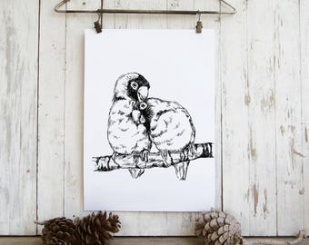 Love birds print, Black and white printable, Love, Nature print, Hipster room decor, Cabin decor, Hostess gift