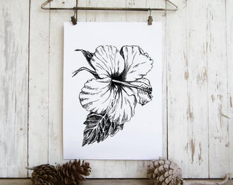 Hibiscus sketch - Black and white flower print, Printable wall art,  Hipster room decor, Art & collectibles, Teen room decor