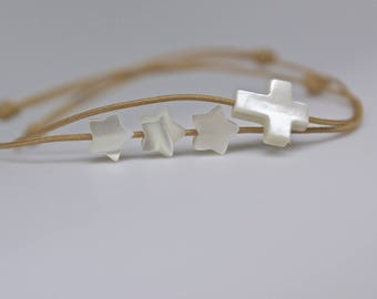 Bracelet beige cord Cross and star mother of Pearl