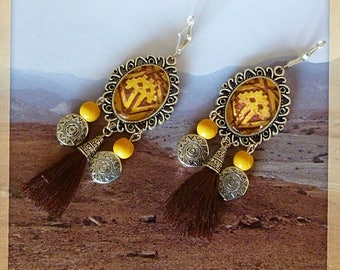 "Pierced ear ethnic ""Quechua"" silver metal tassel, illustrated glass cabochon, yellow glass and metal ethnic beads"