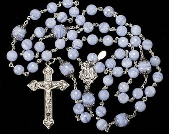 Blue Lace Agate Rosary - Handmade, Heirloom 5-Decade Rosaries Gift for Catholic Women - Sterling Silver, Miraculous Medal Center, Crucifix