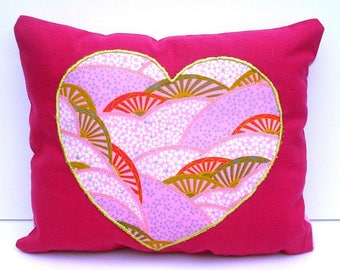 Cushion heart Japanese made and hand embroidered